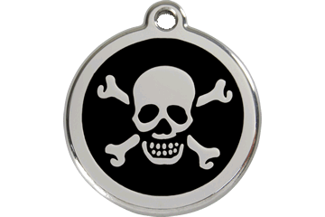 Red Dingo Enamel Tag Skull & Cross Bones Black 01-XB-BB (1XBBS / 1XBBM / 1XBBL)