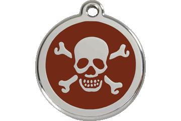 Red Dingo Médaillon en émail Skull & Cross Bones Marron 01-XB-BR (1XBBRS / 1XBBRM / 1XBBRL)