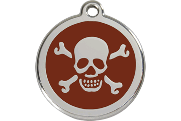Red Dingo Enamel Tag Skull & Cross Bones Brown 01-XB-BR (1XBBRS / 1XBBRM / 1XBBRL)