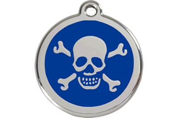 Red Dingo Enamel Tag Skull & Cross Bones Dark Blue 01-XB-DB (1XBNS / 1XBNM / 1XBNL)