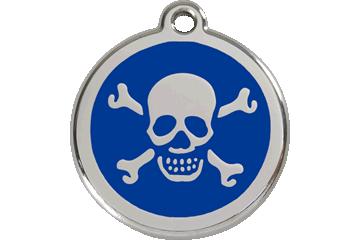 Red Dingo Enamel Tag Skull & Cross Bones Dark Blue 01-XB-DB (1XBNS / 1XBNM / 1XBNL)