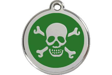 Red Dingo Médaillon en émail Skull & Cross Bones Vert 01-XB-GR (1XBGS / 1XBGM / 1XBGL)