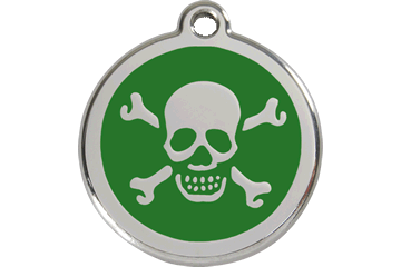Red Dingo Enamel Tag Skull & Cross Bones Green 01-XB-GR (1XBGS / 1XBGM / 1XBGL)