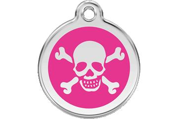 Red Dingo Enamel Tag Skull & Cross Bones Hot Pink 01-XB-HP (1XBHPS / 1XBHPM / 1XBHPL)
