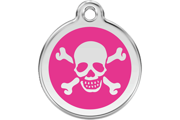 Red Dingo Enamel Tag Skull & Cross Bones Hot Pink 01-XB-HP (1XBHPS / 1XBHPM / 1XBHPL)