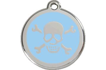 Red Dingo Enamel Tag Skull & Cross Bones Light Blue 01-XB-LB (1XBLBS / 1XBLBM / 1XBLBL)