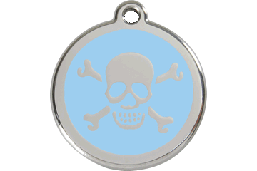 Red Dingo Enamel Tag Skull & Cross Bones Light Blue 01-XB-LB (1XBLBS / 1XBLBM / 1XBLBL)