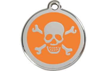 Red Dingo Enamel Tag Skull & Cross Bones Orange 01-XB-OR (1XBOS / 1XBOM / 1XBOL)