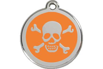 Red Dingo Enamel Tag Skull & Cross Bones Orange 01-XB-OR (1XBOS / 1XBOM / 1XBOL)