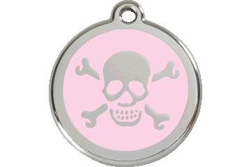 Red Dingo Tiermarke mit Emaille Skull & Cross Bones Pink 01-XB-PK (1XBPKS / 1XBPKM / 1XBPKL)