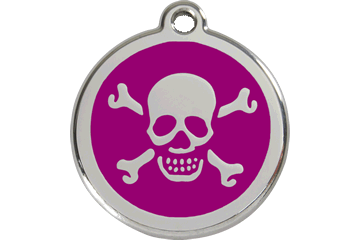 Red Dingo Enamel Tag Skull & Cross Bones Purple 01-XB-PU (1XBPS / 1XBPM / 1XBPL)
