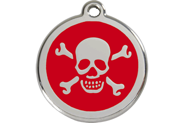 Red Dingo Enamel Tag Skull & Cross Bones Red 01-XB-RE (1XBRS / 1XBRM / 1XBRL)