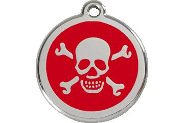 Red Dingo Médaillon en émail Skull & Cross Bones Rouge 01-XB-RE (1XBRS / 1XBRM / 1XBRL)