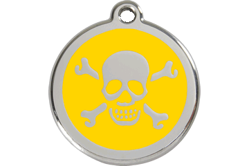 Red Dingo Enamel Tag Skull & Cross Bones Yellow 01-XB-YE (1XBYS / 1XBYM / 1XBYL)
