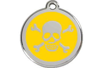 Red Dingo Enamel Tag Skull & Cross Bones Yellow 01-XB-YE (1XBYS / 1XBYM / 1XBYL)