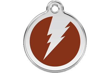 Red Dingo Enamel Tag Flash Brown 01-ZF-BR (1ZFBRS / 1ZFBRM / 1ZFBRL)