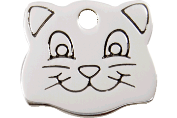 Red Dingo Stainless Steel Tag Cat Face 02-CF-ZZ (2CFS)