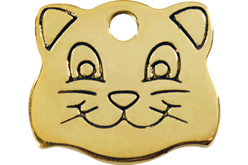 Red Dingo Brass Tag Cat Face 03-CF-ZZ (3CFS)