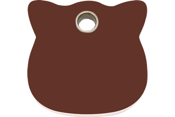 Red Dingo Plastic Tag Cat Head Brown 04-CH-BR (4CHBRS)