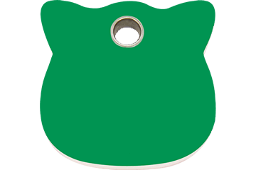 Red Dingo Plastic Tag Cat Head Verde 04-CH-GR (4CHGS)