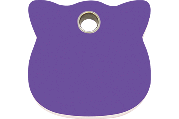 Red Dingo Plastic Tag Cat Head Viola 04-CH-PU (4CHPS)
