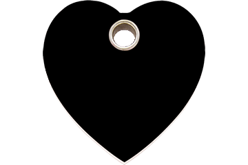 Red Dingo Plastic Tag Heart Black 04-HT-BB (4HTBS / 4HTBM / 4HTBL)