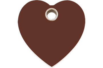 Red Dingo Plastic Tag Heart Brown 04-HT-BR (4HTBRS / 4HTBRM / 4HTBRL)
