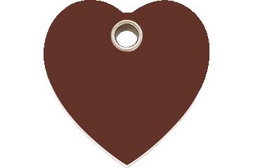 Red Dingo Plastic Tag Heart Brown 04-HT-BR (4HTBRS / 4HTBRM / 4HTBRL)