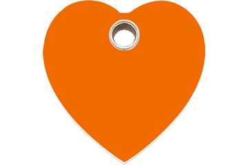 Red Dingo Plastic Tag Heart Orange 04-HT-OR (4HTOS / 4HTOM / 4HTOL)