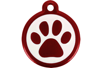 Red Dingo QR Tag Paw Prints Red 05-PP-RE (05PPRS / 05PPRL)
