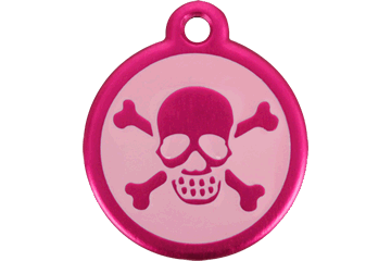 Red Dingo QR Tag Skull & Cross Bones Hot Pink 05-XB-HP (05XBHPS / 05XBHPL)