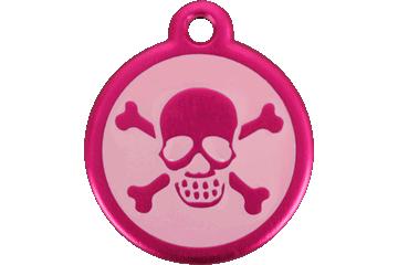 Red Dingo Médaille avec flashcode (QR Code) Tête de mort & Rose Bonbon 05-XB-HP (05XBHPS / 05XBHPL)