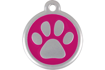 Red Dingo QR Tag Paw Prints Hot Pink 06-PP-HP (6PPHPS / 6PPHPL)