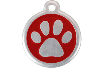 Red Dingo QR Tag Paw Prints Rouge 06-PP-RE (6PPRS / 6PPRL)