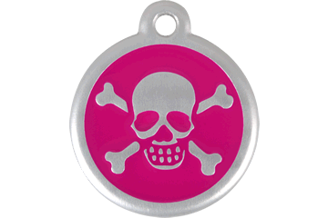 Red Dingo QR Tag Skull & Cross Bones Rose Bonbon 06-XB-HP (6XBHPS / 6XBHPL)
