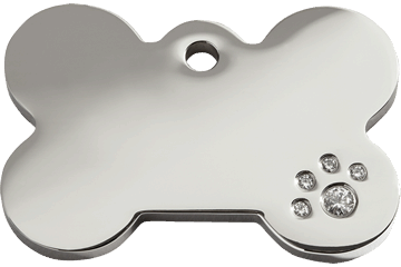 Red Dingo Diamante Polished Stainless Steel Tag Bone 08-BN-ZZ (8BNS / 8BNM / 8BNL)