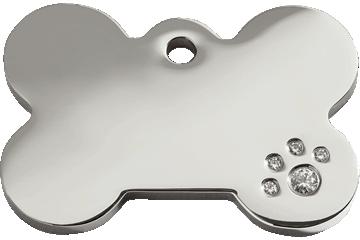 Red Dingo Diamante Polished Stainless Steel Tag Bone 08-BN-ZZ (8BNS / 8BNM / 8BNL)
