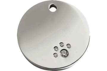 Red Dingo Diamante Polished Stainless Steel Tag Circle &nbsp: 08-CL-ZZ (8CLS / 8CLM / 8CLL)