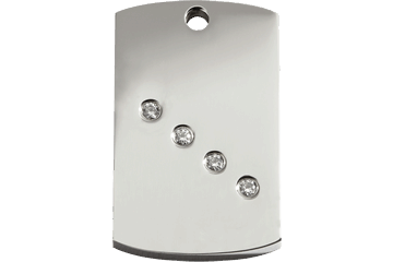 Red Dingo Diamante Polished Stainless Steel Tag Rectangular 08-RT-ZZ (8RTS / 8RTM / 8RTL)