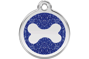 Red Dingo Glitter Enamel Tag Bone Dark Blue 0X-BN-DB (XBNNS / XBNNM / XBNNL)