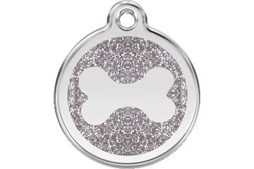 Red Dingo Glitter Enamel Tag Bone Silver 0X-BN-SI (XBNSIS / XBNSIM / XBNSIL)