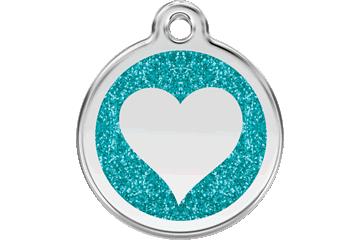 Red Dingo Glitter Enamel Tag Heart Aqua 0X-HT-AQ (XHTAS / XHTAM / XHTAL)