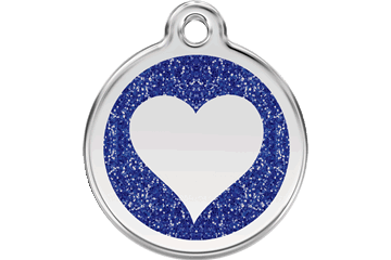 Red Dingo Glitter Enamel Tag Heart Dark Blue 0X-HT-DB (XHTNS / XHTNM / XHTNL)
