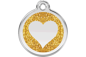 Red Dingo Glitzer Emaille Marke Heart Gold 0X-HT-GO (XHTGOS / XHTGOM / XHTGOL)