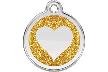 Red Dingo Glitter Enamel Tag Heart Gold 0X-HT-GO (XHTGOS / XHTGOM / XHTGOL)