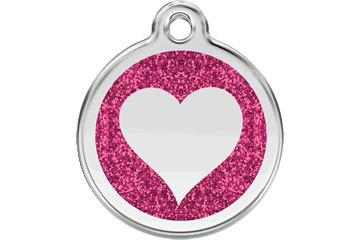 Red Dingo Glitzer Emaille Marke Heart Hot Pink 0X-HT-HP (XHTHPS / XHTHPM / XHTHPL)