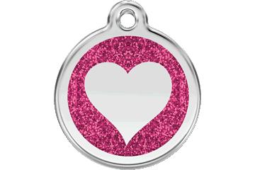 Red Dingo Glitter Enamel Tag Heart Hot Pink 0X-HT-HP (XHTHPS / XHTHPM / XHTHPL)