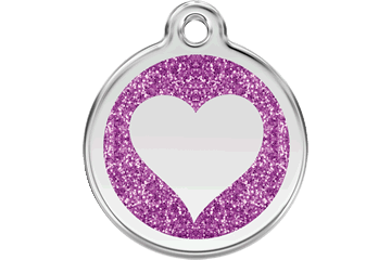 Red Dingo Glitter Enamel Tag Heart purper 0X-HT-PU (XHTPS / XHTPM / XHTPL)