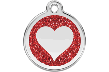 Red Dingo Glitter Enamel Tag Heart Red 0X-HT-RE (XHTRS / XHTRM / XHTRL)