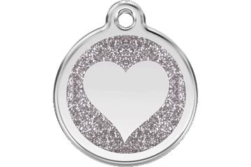 Red Dingo Glitter Enamel Tag Heart Silver 0X-HT-SI (XHTSIS / XHTSIM / XHTSIL)